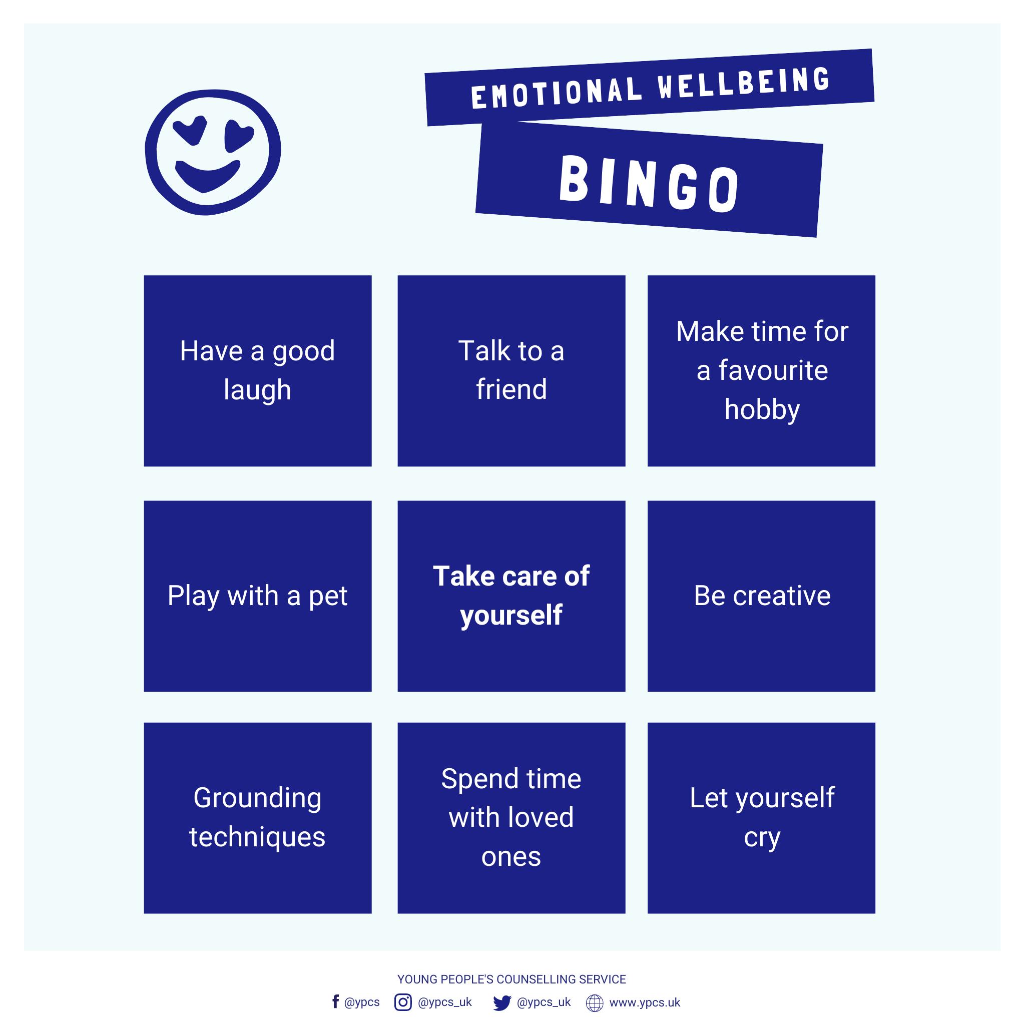 Emotional Well-being Bingo