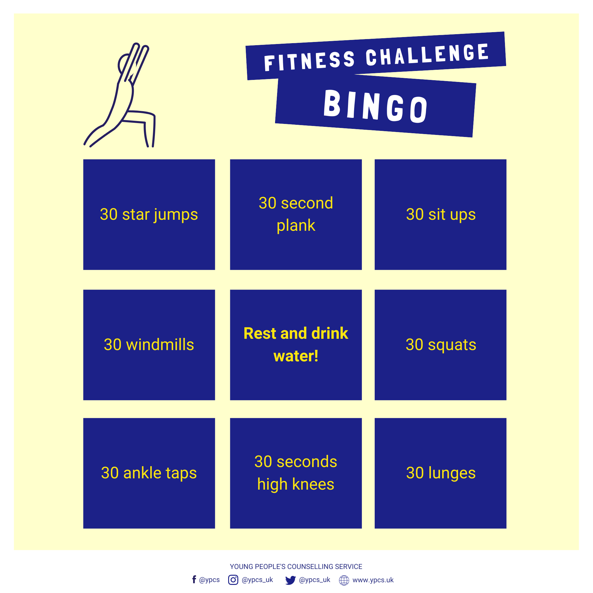 Fitness Challenge Bingo