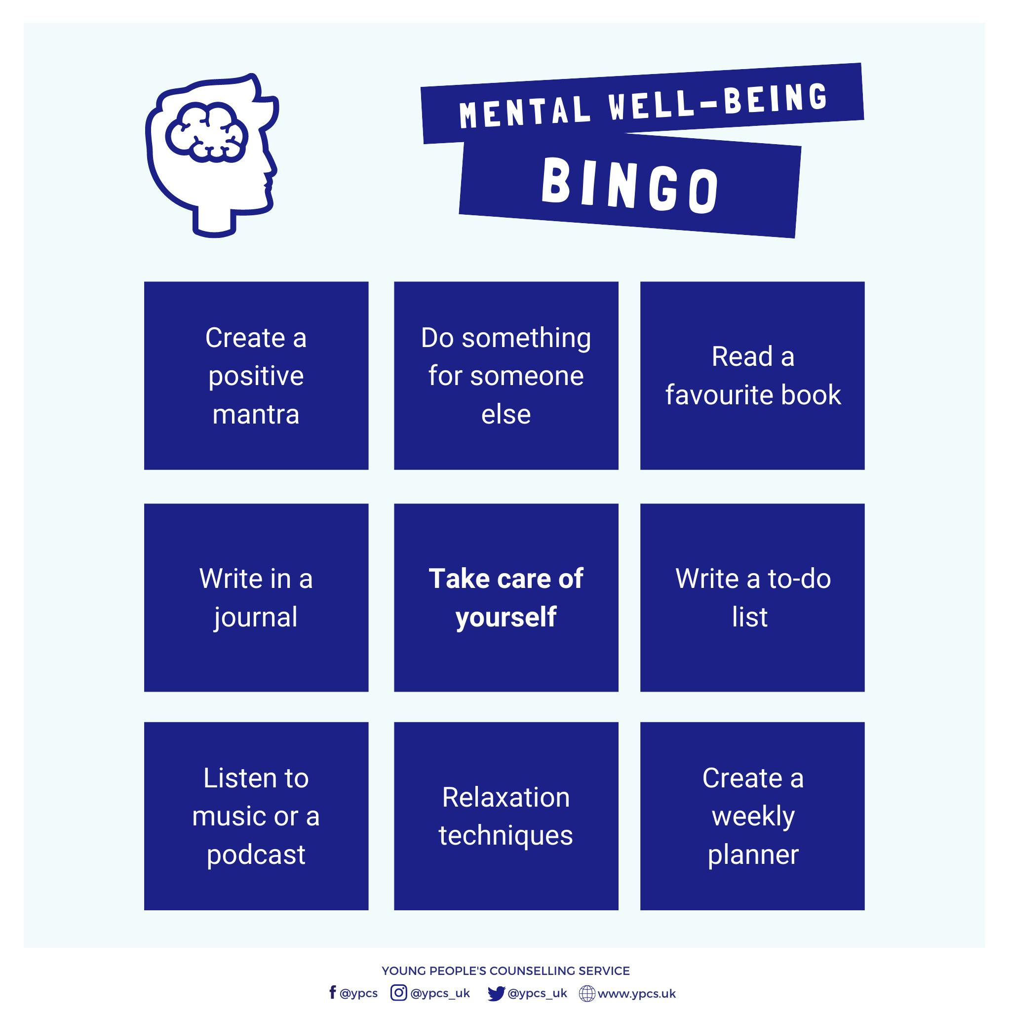 Mental Well-Being Bingo