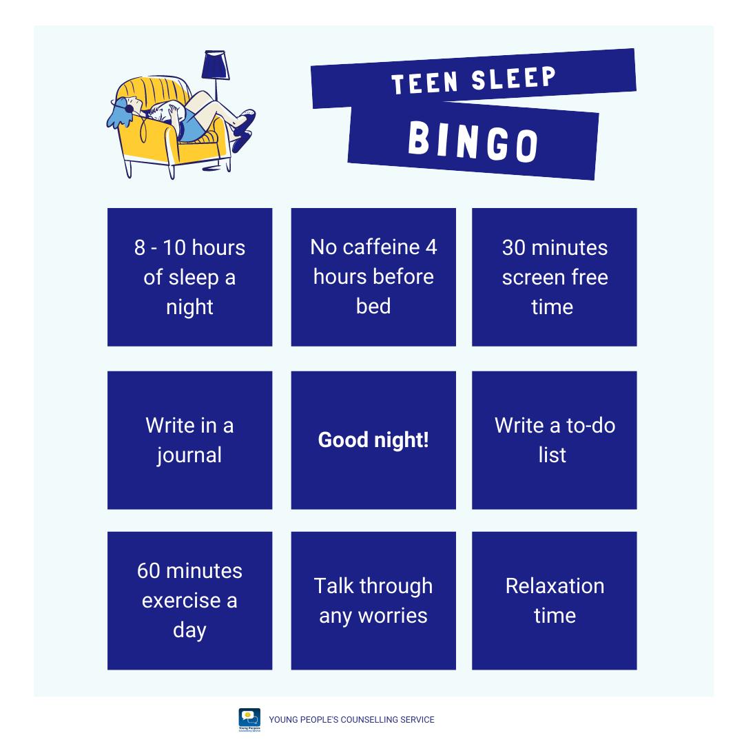 Teen Sleep Bingo